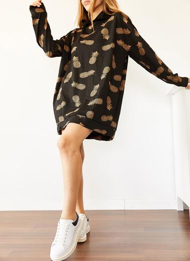 XHAN Siyah Ananas Baskılı Sweatshirt Elbise 0Yxk8-44007-02 Siyah